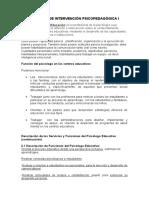 PRÁCTICA DE INTERVENCIÓN PSICOPEDAGÓGICA I
