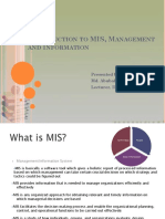 Basic Concepts of MIS, Information and Management_Lecture
