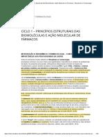 Ciclo 1 – Princípios Estruturais das Biomoléculas e Ação Molecular de Fármacos – Bioquímica e Farmacologia