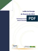 Leilão de Energia de Reserva de 2014 Relatorio