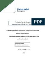 Interdisciplinariedad de educación física con matemática