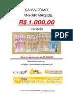 Como ganhar mais de mil reais por mes investindo pouco