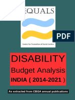 Equals CPSJ Disability Budget Analysis 2014-2021 as compiled From CBGA Publications