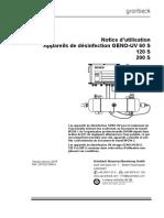 Notice d'Utilisation lampe UV Gruenbeck