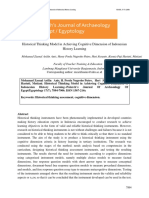 Historical Thinking Model in Achieving Cognitive Dimension of Indonesian
