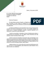 Carta del presidente murciano, Fernando López Miras, al presidente del Gobierno, Pedro Sánchez