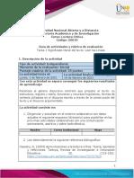 Guia de actividades y Rúbrica de evaluación – Unidad - 1- Tarea 1 - Significado literal del texto - Leer las Líneas