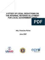 A Study of Legal Deductions in the Internal Allotment for Local Government Units