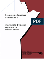 Sciences de la nature, secondaire 1, programme d'études