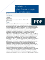 Fisiopatologia e Farmacoterapia dos Sistema Hematológico