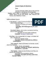 Generaltypes of Literature