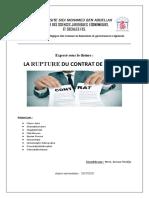 La Rupture Du Contrat Du Travail Mme Khadija (Version Finale)&