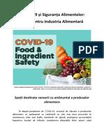 COVID-19 și Siguranța Alimentelor - Spații destinate vanzarii cu amănuntul a produselor alimentare