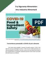 COVID-19 și Siguranța Alimentelor - Transmiterea potențială a COVID-19 prin alimente