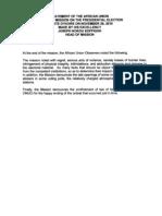 Rapport Du Chef de La Mission Des Observateurs de l u a Du 28 Nov 2010 de Son Excellence Joseph Kokou Koffigho