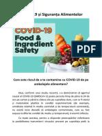 COVID-19 și Siguranța Alimentelor - Care este riscul de a te contamina cu COVID-19 de pe ambalajele alimentare?