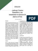 Síndrome Urémico Hemolítico y sus tratamientos en menores de edad en el Perú