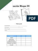 Evaluación Bloque III Primer Grado