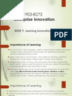MBIE 8273 - Enterprise Innovation - Week 9