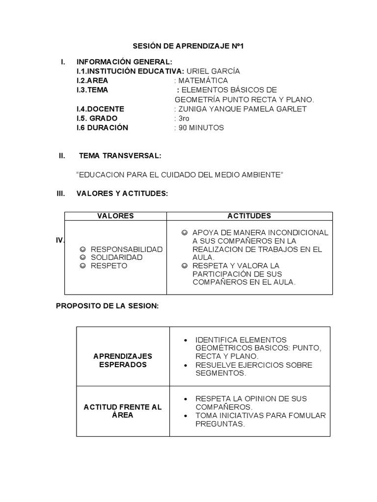 SESIÓN DE APRENDIZAJE Nº1- URIEL GARCIA