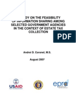 A Study on the Feasibilty of Information Sharing Among Selcted Government Agencies in the Context