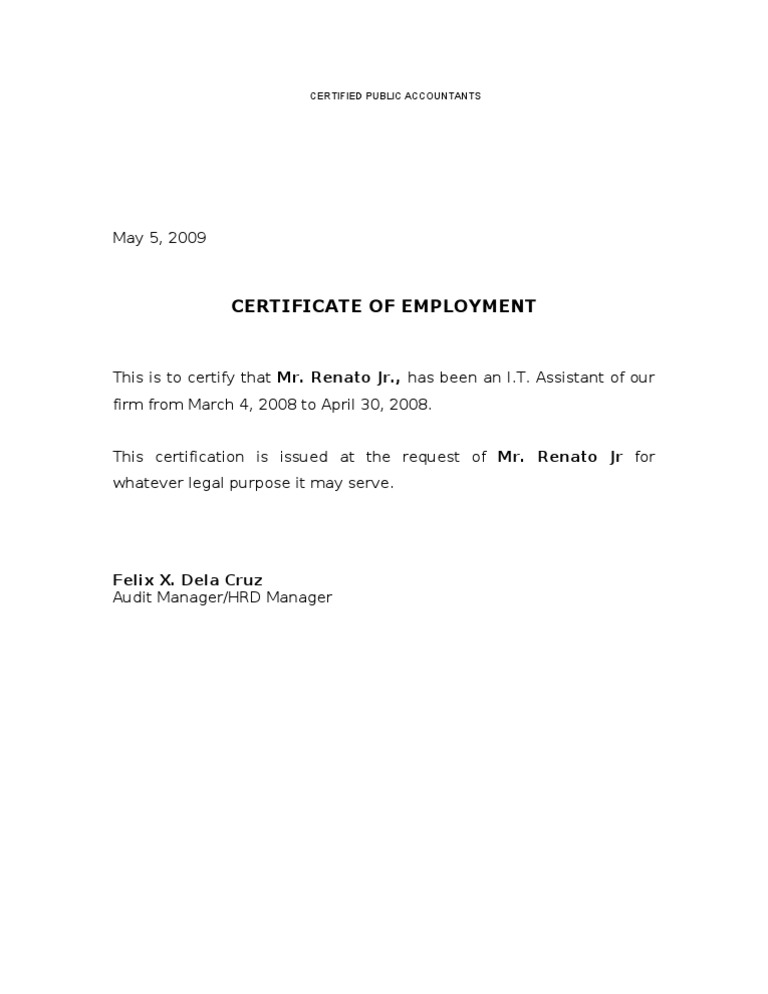 Certificate of employment yelopaper Gallery