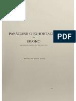 Dámaso Alonso. Paráclesis o Exhortación de Erasmo (Traducción Del Siglo XVI)