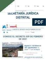 CONOCE EL DECRETO 039 DE FEBRERO DE 2021 _ Secretaría Jurídica Distrital
