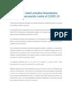 Ministerio de Salud Actualiza Lineamientos Técnicos de Vacunación Contra El COVID