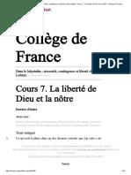 Dans le labyrinthe _ nécessité, contingence et liberté chez Leibniz - Cours7. La liberté de Dieu et la nôtre - Collège de France
