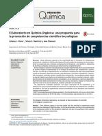 El Laboratorio en Química Orgánica-una Propuesta Para La Promoción de Competencias Científico-tecnológicas