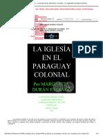 Portal Guaraní - La Iglesía en El Paraguay Colonial - Por Margarita Durán Estragó