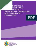 Recomendações e Orientações para Elaboração e Arquitetura Curricular dos Itinerários Formativos