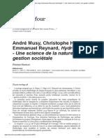 André Musy, Christophe Higy Et Emmanuel Reynard, Hydrologie 1 - Une Science de La Nature, Une Gestion Sociétale