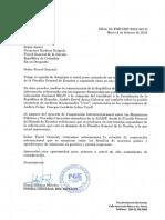 Comunicación de la Fiscalía de Ecuador sobre archivos de Uriel