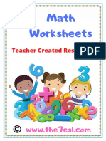 Math Worksheets Add & Subtract& Trace & Colour Copyright Www.the7esl.com. PDF