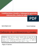 Combinaciones lineales y Subesp generado