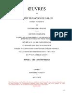 01-Oeuvres de Saint Francois de Sales-Tome I-Les Controverses