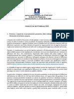 Covid campania 2021 febbraio Relazione Tecnica Unita Di Crisi 9 Febbraio 2021