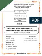 Conception Et Réalisation d'Un Progiciel Gestion Prestation Et Sa Mise en Mode SaaS Cas d'Étude Entreprise