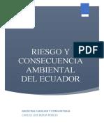Riesgo y consecuencia ambiental del Ecuador