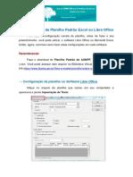 Configurações da Planilha Padrão Excel ou Libre