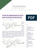 Circuito de condicionamento de sinal do sensor de pressão com único Op-Amp - Diagrama de circuito eletrônico