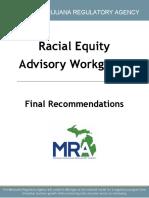 Michigan Marijuana Regulatory Agency Racial Equity Advisory Workgroup final recommendations