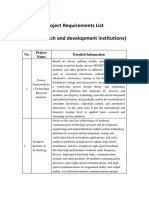 Project Requirements List (New research and development institutions)