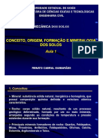 Aula 1.2 - Conceito, Origem, Formação e Mineralogia Dos Solos