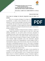 SOCIOLOGIA DA EDUCAÇÃO CAMPO DE CONHECIMENTO E NOVAS TEMÁTICAS