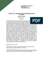 Conflicto y finanzas públicas municipales en colombia