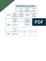 PROGRAMACIÓN DE CLASES DE 25 al 29 de Enero