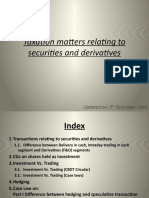 Taxation matters relating to securities and derivatives